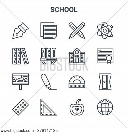 Set Of 16 School Concept Vector Line Icons. 64x64 Thin Stroke Icons Such As Notes, Document, Degree,