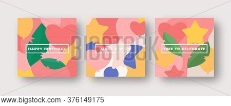 Vibrant Colors Birthday Pattern Abstract Vector Greeting Cards Background Set. Leaves, Baloons, Star