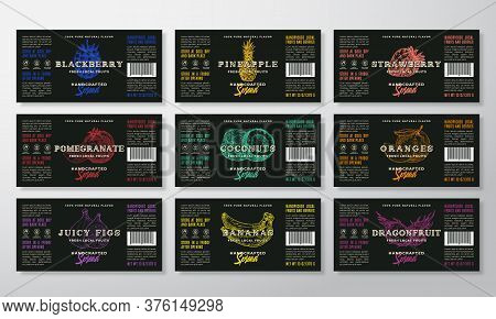 Handcrafted Spread Or Jam Labels Template Collection. Abstract Vector Packaging Design Layouts Set.