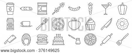 Gastronomy Line Icons. Linear Set. Quality Vector Line Set Such As Cooking, Pizza, Cake, Cleaver Kni