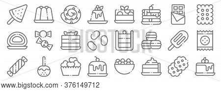 Desserts Candies Line Icons. Linear Set. Quality Vector Line Set Such As Cake, Pie, Cake, Candy, Ice
