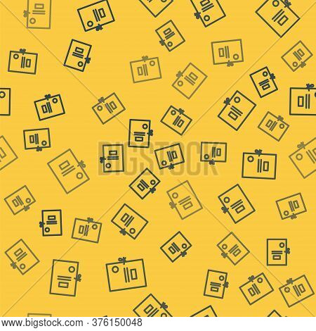 Blue Line Lawsuit Paper Icon Isolated Seamless Pattern On Yellow Background. Vector Illustration