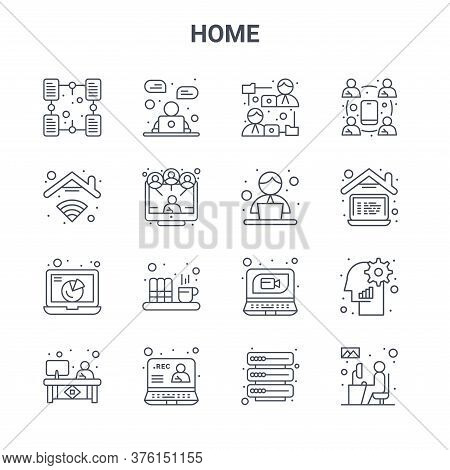 Set Of 16 Home Concept Vector Line Icons. 64x64 Thin Stroke Icons Such As Online Chat, Internet, Wor