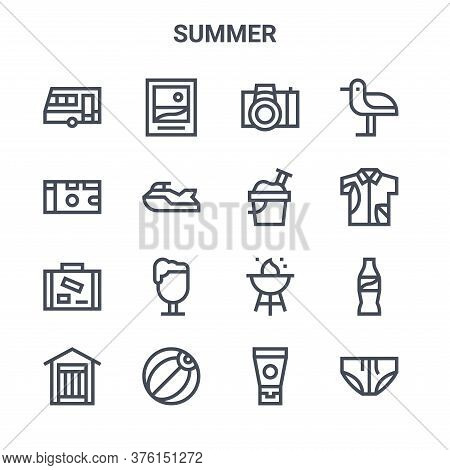 Set Of 16 Summer Concept Vector Line Icons. 64x64 Thin Stroke Icons Such As Picture, , Hawaiian Shir