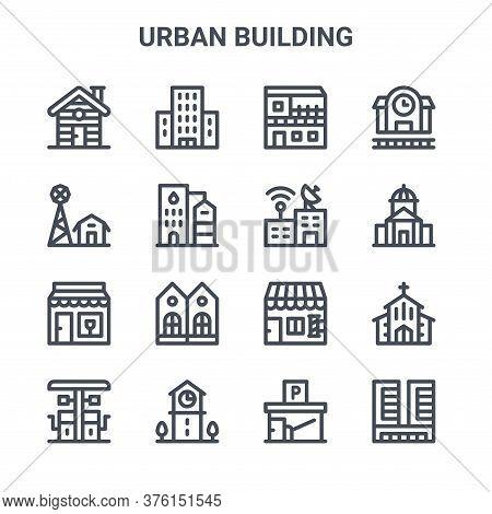 Set Of 16 Urban Building Concept Vector Line Icons. 64x64 Thin Stroke Icons Such As Condo, Farm, Tow
