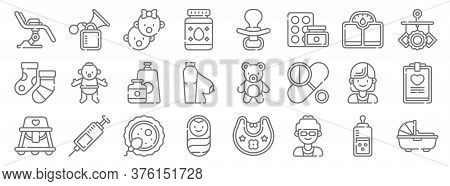 Maternity Line Icons. Linear Set. Quality Vector Line Set Such As Carrycot, Doctor, Baby Boy, Baby W