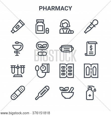 Set Of 16 Pharmacy Concept Vector Line Icons. 64x64 Thin Stroke Icons Such As Capsules, Hygieia, Bil