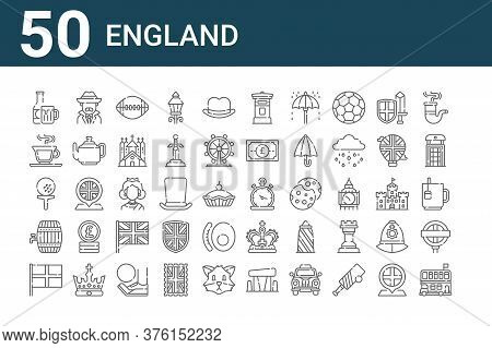 Set Of 50 England Icons. Outline Thin Line Icons Such As Double Decker Bus, England, Barrel, Golf, T