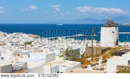 Panoramic view of Mykonos town with The Old Port, Greece. Greek scenery