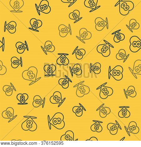 Blue Line Heart With 8 March Icon Isolated Seamless Pattern On Yellow Background. Romantic Symbol Li