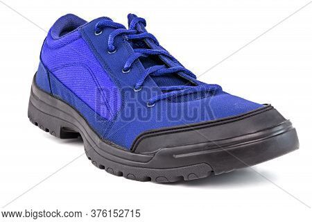 Right Cheap Simple Blue Hiking Or Hunting Shoe Isolated On White Background