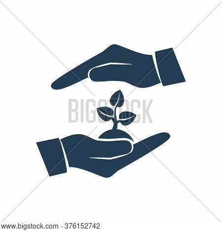 Environmental Protection Black Logo. Hands Holding Tree. Ecology Concept. Protection Ecology. Vector