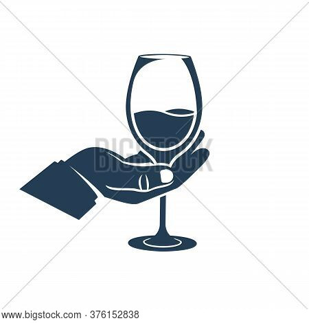 Black Icon Wineglass With A Drink In Hand. Silhouette Alcoholic Drinks. Vector Illustration Flat Des
