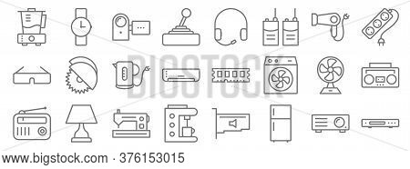 Electronic Devices Line Icons. Linear Set. Quality Vector Line Set Such As Dvd Player, Fridge, Coffe