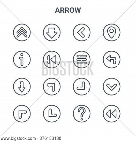 Set Of 16 Arrow Concept Vector Line Icons. 64x64 Thin Stroke Icons Such As Down, About, Turn Left, B
