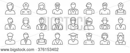 Professions Line Icons. Linear Set. Quality Vector Line Set Such As Stewardess, Police Officer, Prie
