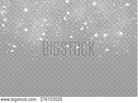 Snowfalls, Snowflakes In Different Shapes And Forms. Snowflakes, Snow Background. Christmas Snow For