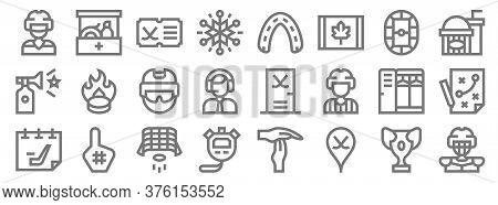 Hockey Line Icons. Linear Set. Quality Vector Line Set Such As Ice Hockey, Hockey, Stopwatch, Locker