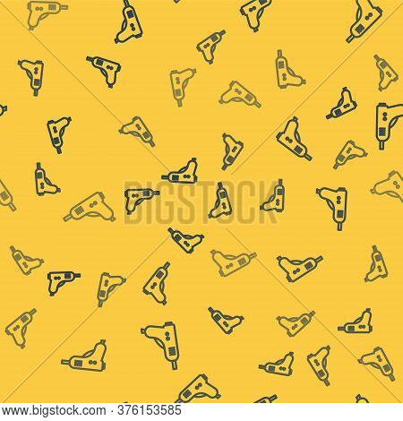 Blue Line Electric Hot Glue Gun Icon Isolated Seamless Pattern On Yellow Background. Hot Pistol Glue