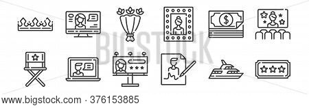12 Set Of Linear Fame Icons. Thin Outline Icons Such As Ticket, Autograph, Video Chat, Money, Flower