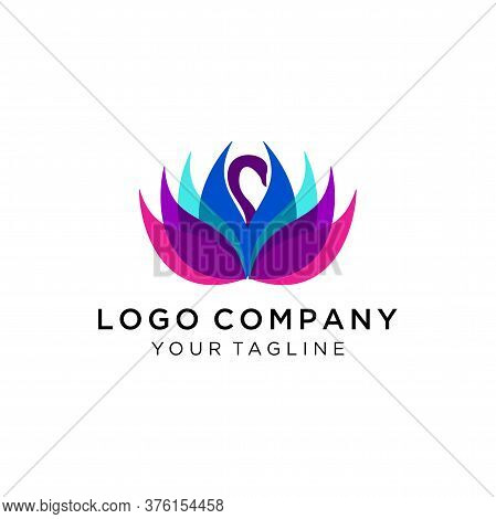 Swan Logo Design Template, Swan Flower Vector Petals Logo Design