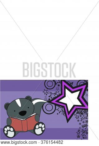 Cute Kawaii Baby Skunk Cartoon Reading Book Background In Vector Format