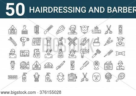 Set Of 50 Hairdressing And Barber Icons. Outline Thin Line Icons Such As Mirror, Toe Separator, Elec