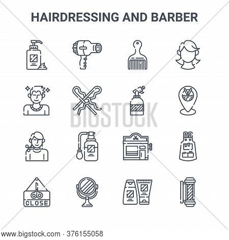 Set Of 16 Hairdressing And Barber Concept Vector Line Icons. 64x64 Thin Stroke Icons Such As Hairdry