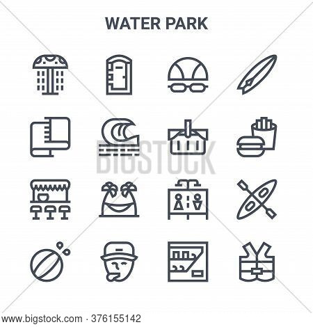 Set Of 16 Water Park Concept Vector Line Icons. 64x64 Thin Stroke Icons Such As Portable Toilet, Tow