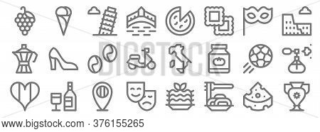 Italy Line Icons. Linear Set. Quality Vector Line Set Such As Vase, Spaghetti, Theater Masks, Italy,