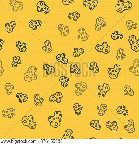 Blue Line Asteroid Icon Isolated Seamless Pattern On Yellow Background. Vector Illustration