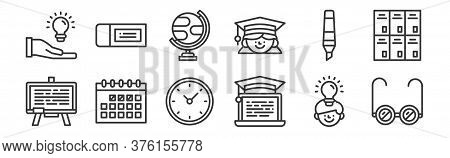 12 Set Of Linear Education Icons. Thin Outline Icons Such As Sunglasses, Online Learning, Calendar,