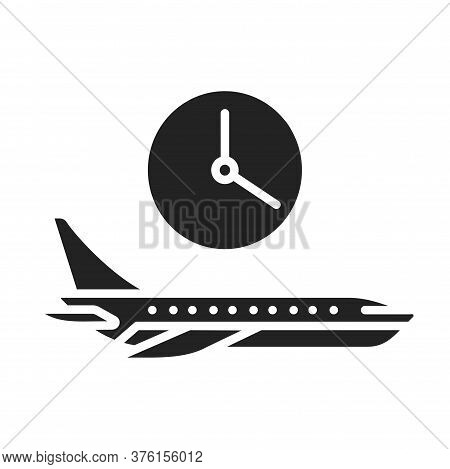 Flight Time Black Glyph Icon. Departure Time Of A Particular Flight. May Vary. Pictogram For Web Pag