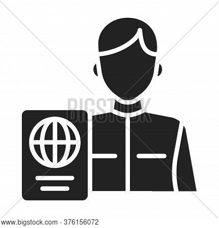 Passport Control Black Glyph Icon. Area In An Airport Where Passports Are Checked. Pictogram For Web