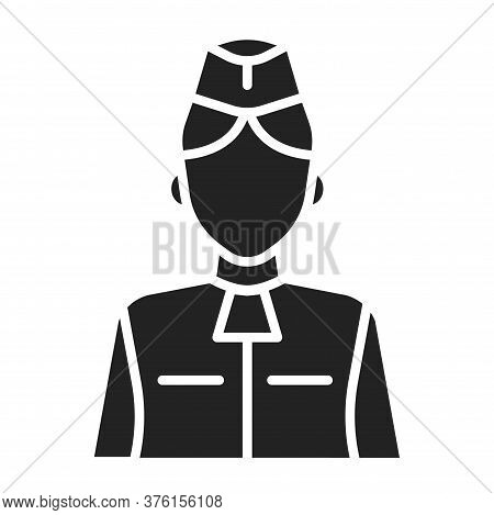 Stewardess Black Glyph Icon. Member Of An Aircrew Employed By Airlines Aboard Commercial Flights. Pi