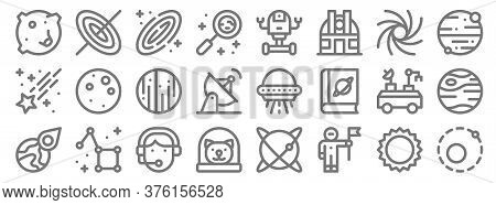 Space Line Icons. Linear Set. Quality Vector Line Set Such As Orbit, Astronaut, Cat, Asteroid, Moon