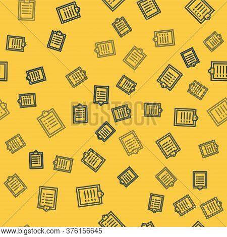 Blue Line Clipboard With Checklist Icon Isolated Seamless Pattern On Yellow Background. Control List