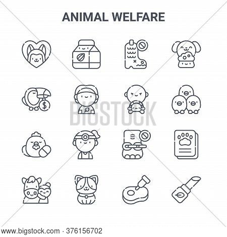 Set Of 16 Animal Welfare Concept Vector Line Icons. 64x64 Thin Stroke Icons Such As Almond Milk, Wil