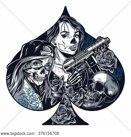 Chicano Tattoo Monochrome Concept In Shape Of Playing Card Spades With Pretty Girls Skull Roses Skel