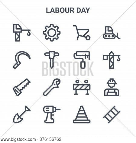 Set Of 16 Labour Day Concept Vector Line Icons. 64x64 Thin Stroke Icons Such As Gear, Sickle, Crane,