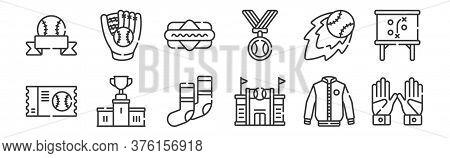 12 Set Of Linear Baseball Icons. Thin Outline Icons Such As Gloves, Stadium, Podium, Fireball, Hot D