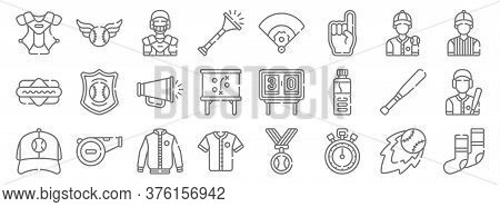 Baseball Line Icons. Linear Set. Quality Vector Line Set Such As Socks, Stopwatch, Baseball Jersey,