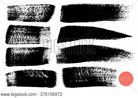 Vector Set Of Hand Drawn Brush Strokes, Stains For Backdrops. Monochrome Design Elements Set. One Co