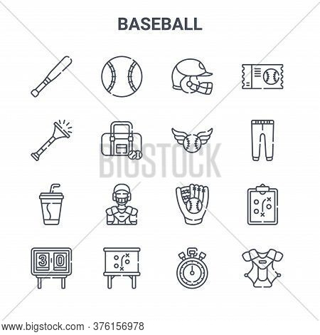 Set Of 16 Baseball Concept Vector Line Icons. 64x64 Thin Stroke Icons Such As Baseball Ball, Trumpet