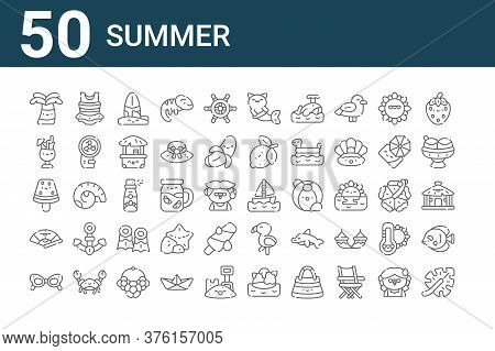 Set Of 50 Summer Icons. Outline Thin Line Icons Such As Leaf, Sunglasses, Fan, Watermelon, Drink, Sw