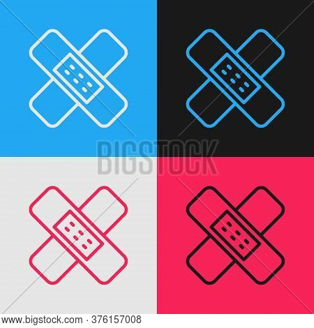 Pop Art Line Crossed Bandage Plaster Icon Isolated On Color Background. Medical Plaster, Adhesive Ba