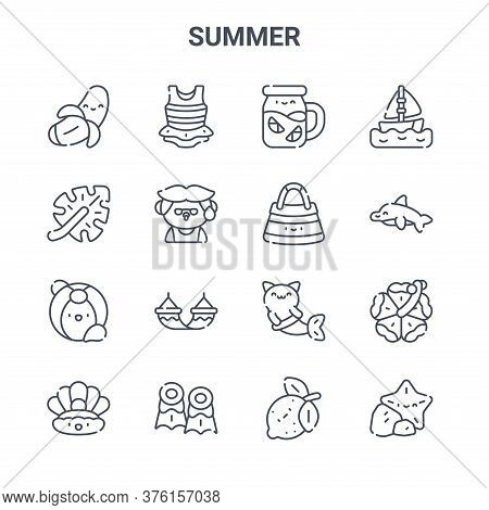 Set Of 16 Summer Concept Vector Line Icons. 64x64 Thin Stroke Icons Such As Swimsuit, Leaf, Dolphin,