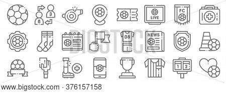 Soccer Line Icons. Linear Set. Quality Vector Line Set Such As Soccer, Referee, Soccer, First Aid Ki