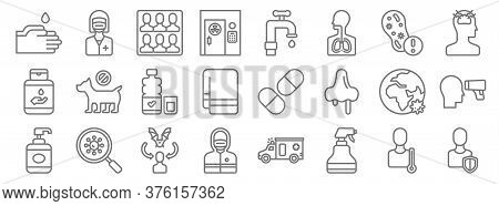 Covid Line Icons. Linear Set. Quality Vector Line Set Such As Shield, Sprayer, Mask, Hand Soap, Glob