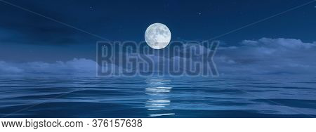 A pale moon over the ocean banner background 3D illustration